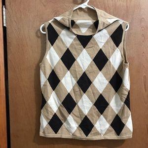 NWT LOFT Tan Diamond Pattern Vest w Funnel Neck L
